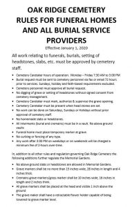 Oak Ridge Cemetery Rules For Funeral Homes JPEG Document