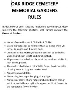 Oak Ridge Memorial Gardens Cemetery Rules & Regulations JPEG Document