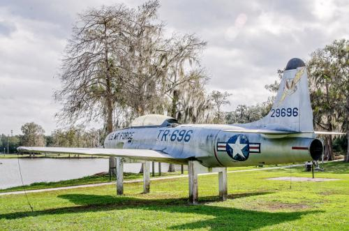 Retired fighter jet at Lake Katherine Park