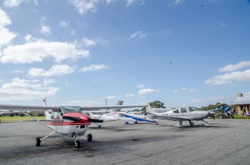 A few airplanes parked